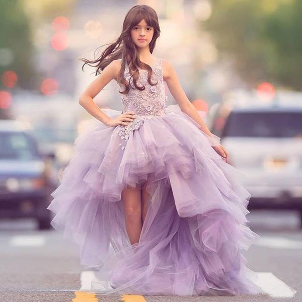 2019 Lovely Lavender Tulle Flower Girls Dresses High Low Lace Appliques Ruffles Skirt Girls Pageant Gowns Kids Formal Wear