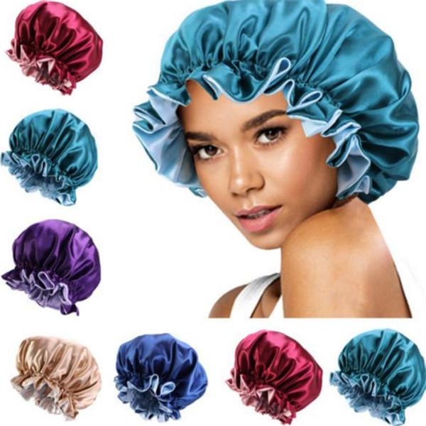 best selling New Silk Night Cap Hat Double side wear Women Head Cover Sleep Cap Satin Bonnet for Beautiful Hair - Wake Up Perfect Daily Factory Sale a036