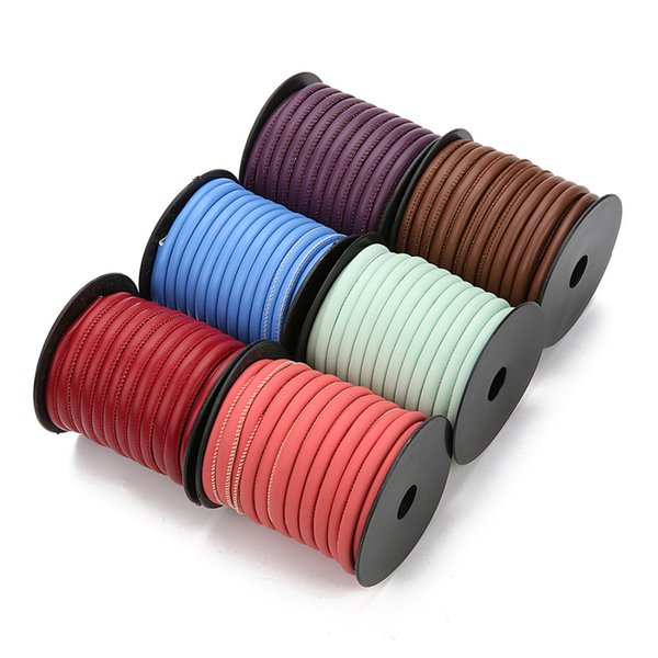 LOULEUR 10m / roll 7 colori intrecciati in pelle PU corda rotonda in pelle filo discussione per gioielli collana fai da te braccialetto risultati