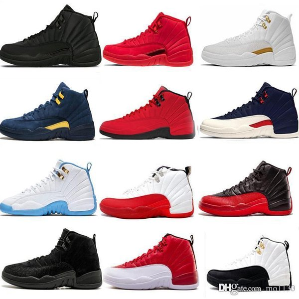 New 12 12s men basketball shoes Winterized WNTR Gym Red Michigan white black Flu Game taxi playoff blue sports sneakers trainers size 7-13