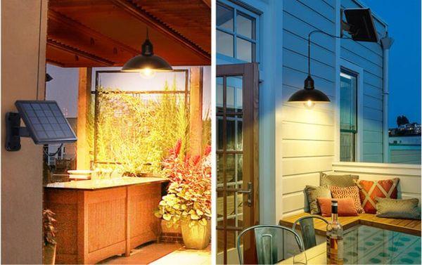 Solar Panel LED Retro Hanging Pendant Light Chandelier Garden Road Lamp for Outdoor Yard Garden Driveway Pathway Street