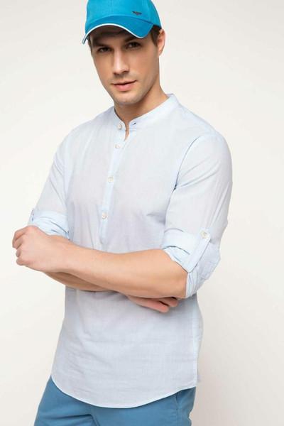 DeFacto Мужчины моды Формальное белый стенд воротник рубашки Тканые Топ с коротким рукавом рубашки Повседневный Business Wear Top Shirt-G8832AZ17SM