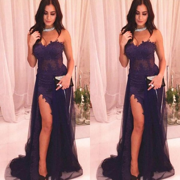 Sexy Grape Sweetheart Neckline High Split Prom Dress Ofun 2019 Modest Tulle Long Mermaid Evening Party Gown With Appliques Lace