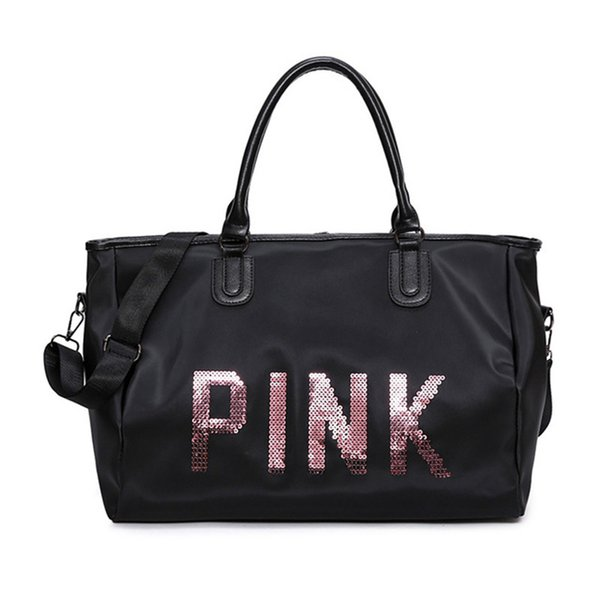 ce631ef2a8d8 Новый дизайн Розовый водонепроницаемый женская спортивная спортивная сумка  для багажа Модные блестки из нейлона водонепроницаемый стиль путешествия  багаж ...