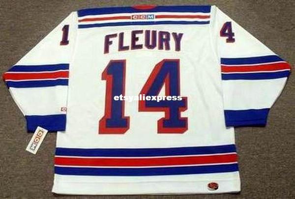 custom Mens THEOREN FLEURY New York Rangers 2001 CCM Jerseys Home Cheap Retro Hockey Jersey