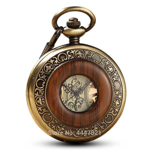 Wood Mechanical Pocket Watches Chains Retro Skeleton Hand-Winding Skeleton Mechanical Fob Watches for Men Women Steampunk Gifts