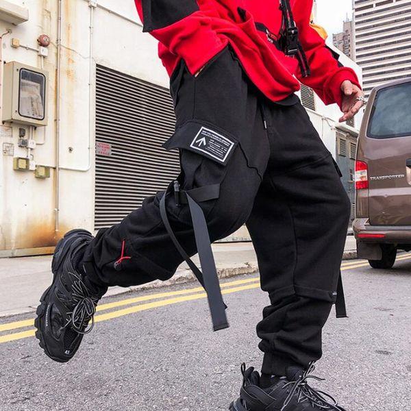 Ruban patchwork hommes hip hop cargo pantalon mode street dance DJ punk ensemble harajuku mens noir sarouel pantalon jogging sportif vêtements