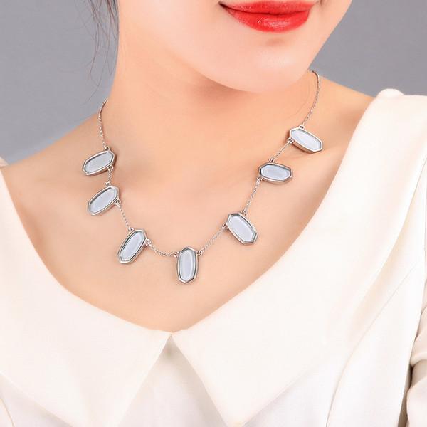 Lüks Tasarımcı Takı Kadınlar kolye Alaşım Kaplama Geometrik Akrilik Elmas Kolye Kolye Kadın Avrupa Ve Amerikalı Moda necklac