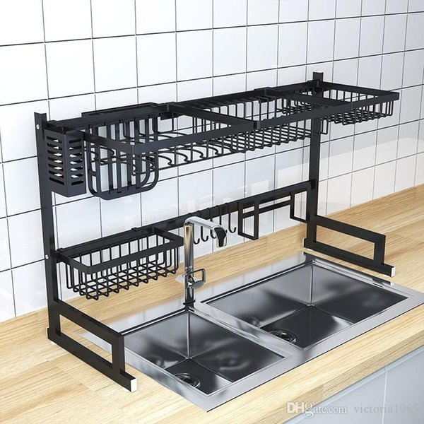 High quaility 85cm Kitchen Stainless Steel Sink dish Rack Two-story Floor Sink Rack Kitchen organization ship by DHL ups