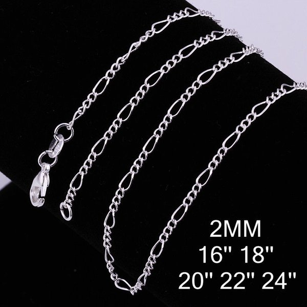 Fine 925 Sterling Silver Necklace,XMAS New 925 Silver 2MM 16-30Inch Curb Chain Necklace For Women Men Fashion Jewelry 2019 Link Italy c013