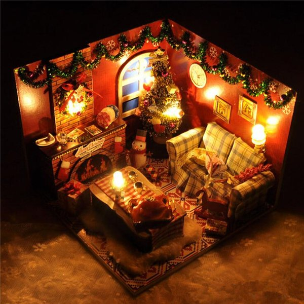DIY Wood Dollhouse Toy Model Mini Christmas Home Furniture Furnish LED Light Doll House Kids Assemble Block Gift With Dust Cover