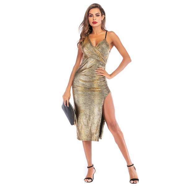 sexy vestido de color dorado de alta división 2019 estilo europeo con cuello en v bodycon vestido de serpiente estampado mujeres club vestido de correa de espagueti