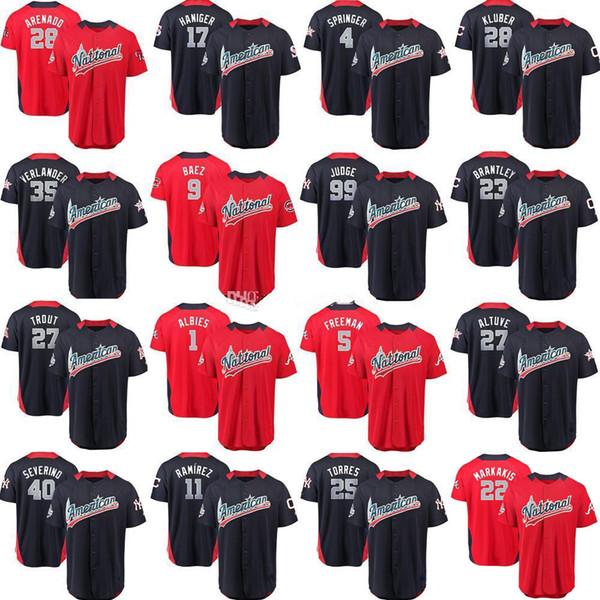 2018 трикотажные изделия All Star 4 Springer 35 Verlander 27 Форель 9 Baez 25 Торрес 40 Severino 99 Судья 11 Рамирес 23 Брантли