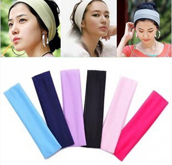 best selling 20*5cm New Fashion Solid Sport Yoga Dance Biker Wide Headband Hood Stretch Ribbon Hairband Elastic Girl Women head wrap 19 colors M658