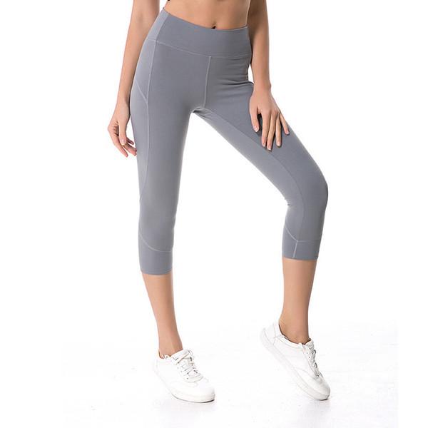 top popular LU-44 High Waist Atheltics yoga legging Capris Side Pocket Sports Elastic Fitness Tight Leggings Slim Running Gym Pants 2019