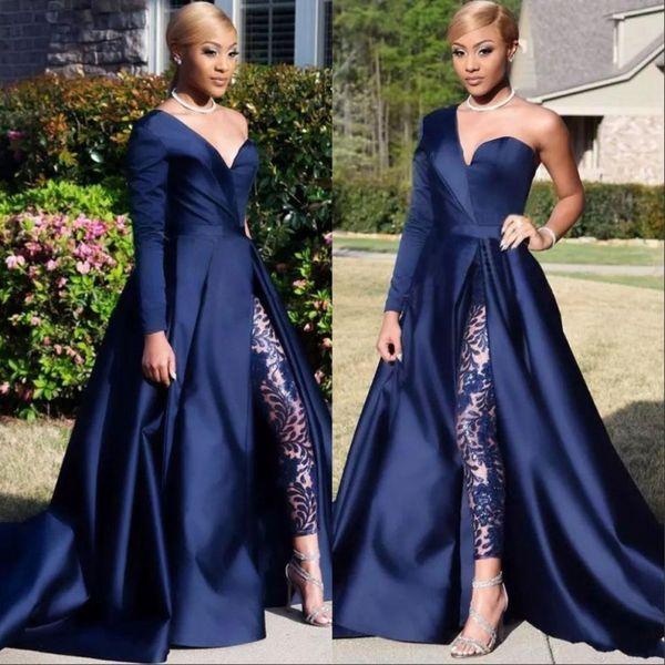 Royal Blue African Jumpsuits Prom Dresses Una spalla anteriore fessura del vestito da tailleur pantaloni abito da sera