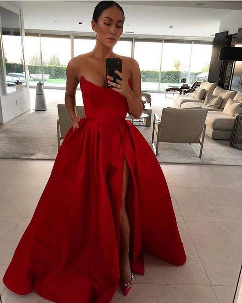 2019 Strapless Red Satin Prom Dress High Slit Women Prom Dress Red Evening Gowns, Sexy Womem Party Dress