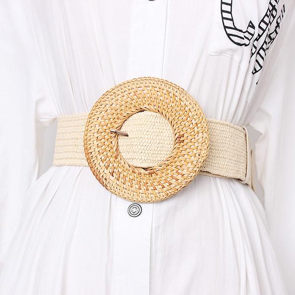 Geniş Kayış Kadın Tasarımcı Dokuma Kızlar Elastik PP Straw Kayışlar Kadınlar Casual Kadın Örgülü İçin Ahşap Toka Elbise Kemer BZ339
