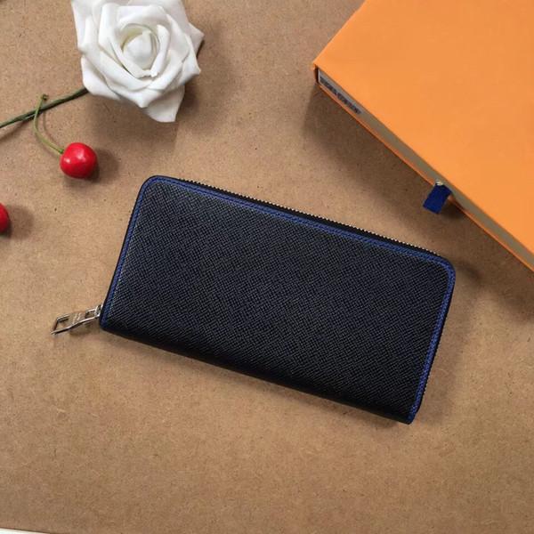 2018 portafogli portafoglio uomo nuovo portafoglio in pelle nuovo portafoglio moda uomo borsa masculina lungo portafoglio tasca uomini borsa con scatola 60017 nero