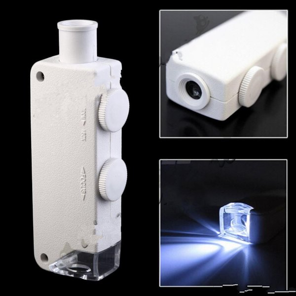Mini 160X-200X Ingrandimento Illuminato Zoom LENS Microscopio tascabile con lente di ingrandimento Lente con LED portatile bianco e nero Spedizione gratuita