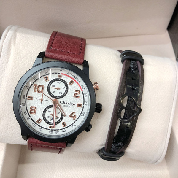 Man watches Sets Retro Design Leather Band Watches Men Top Brand Mens Sports Clock Leather Bracelet Set Analog Quartz WristWatch