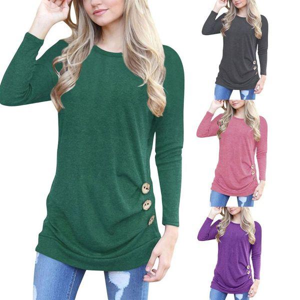 Casual Femme T-shirt Col Rond Manches Longues Bouton Design Chemise Longue Femme Vêtements Femmes Hauts 13 couleurs
