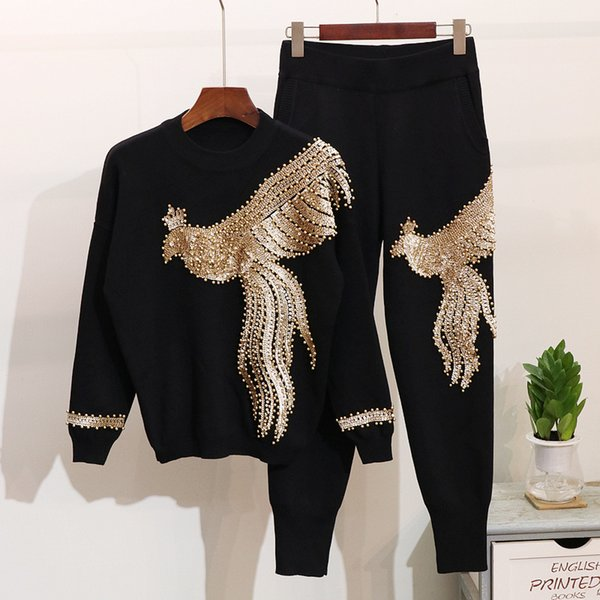 Amolapha Women Winter Handmade Beading Sequined Pattern Long Sleeve Knitted Pullover Tops Trousers 2PCS Clothing Sets
