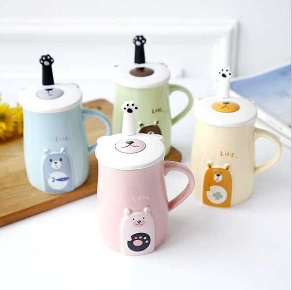 Ceramic cup custom logo coffee cup + spoon + cover factory direct creative mug daily necessities gift Mugs