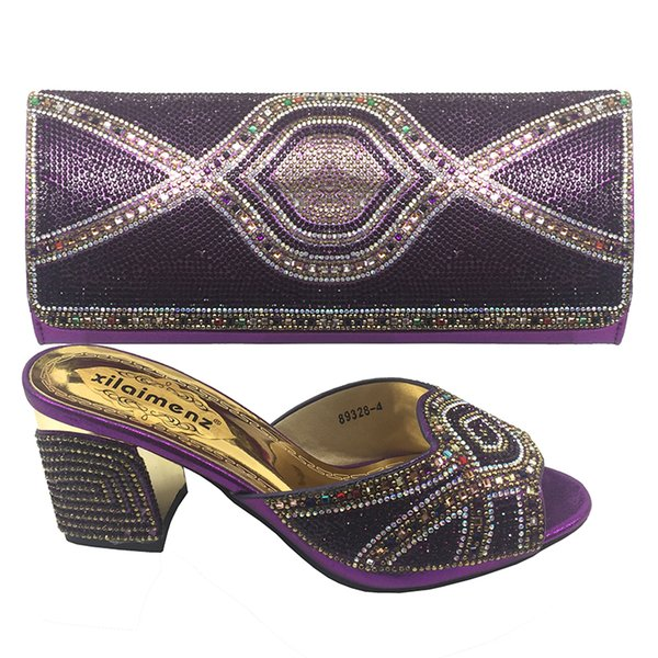 2019 Nice Wedding shoes and Bag To Match Women Party African Italian Design Shoe And Bag African Shoes Bag set Purple color Heels Z003