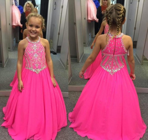 2018 Cute Fuchsia Girl's Pageant Dress Princess Beaded Crystals Party Cupcake Young Pretty Little Kids Queen Flower Girl Dress
