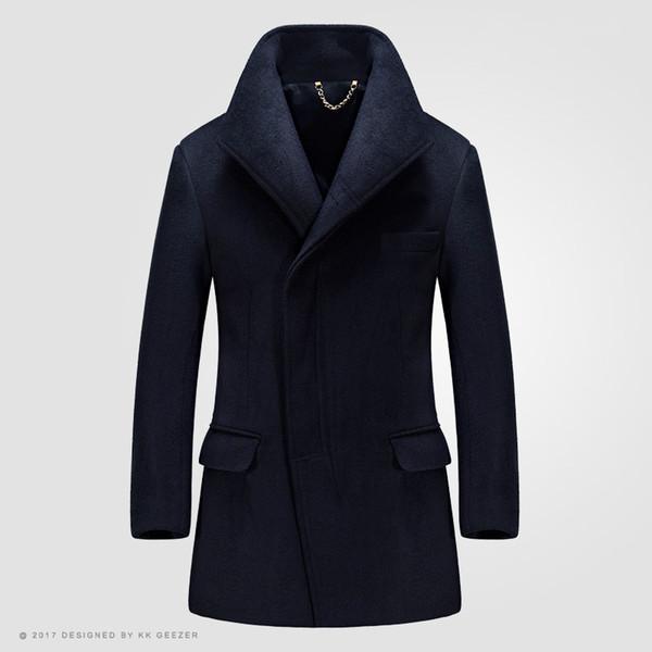 2019 Moda Inverno Casaco De Lã Dos Homens Casacos Longos Seção Casaco De Trincheira De Lã Misturas Duffle Sobretudos Mandarim Negócio