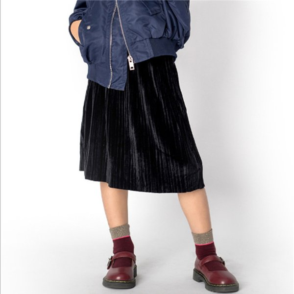 NEW Winter and FALLS Crushed velvet pleated skirt for 4-18T GIRLS and ladyes knee length skirts