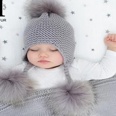6 months to 4 years Cute Toddler Kids Girl Boy Baby Infant Winter Warm Crochet Knit ear Hat pompom Beanie Cap for children kids