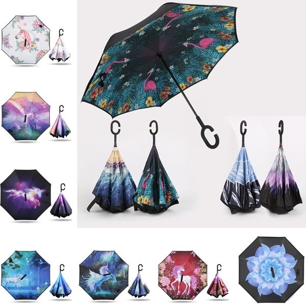 Nueva Creativa Paraguas Invertidos Moda de Doble Capa Con C Manejar de adentro hacia afuera Invertir Windproof Sky Flower Colorful Umbrella 5064
