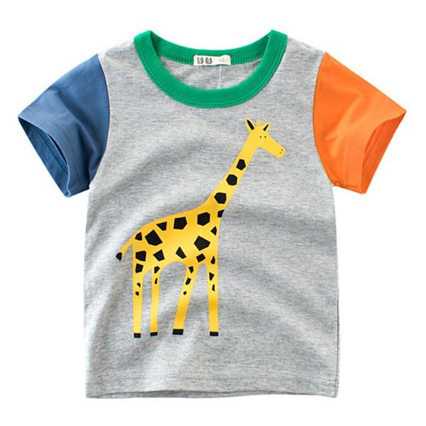 cc4c517a Summer Children Boy T-shirt Animal Print Short Sleeve Tee Shirts Kids  Elephant Lions Giraffe