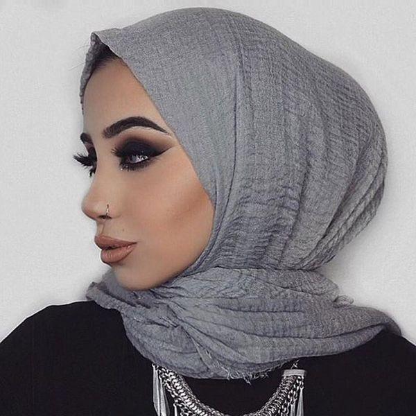Frauen Muslim Crinkle Hijab Schal weicher Baumwolle Kopftuch Islamic Hijab Solid Color Schals Wraps