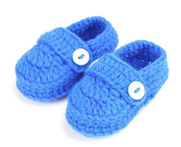 1 Çift Rahat yumuşak bebek erkek kız katı renkler elişi örgü sığ toddler ayakkabı çocuk beşik ayakkabı 11 cm