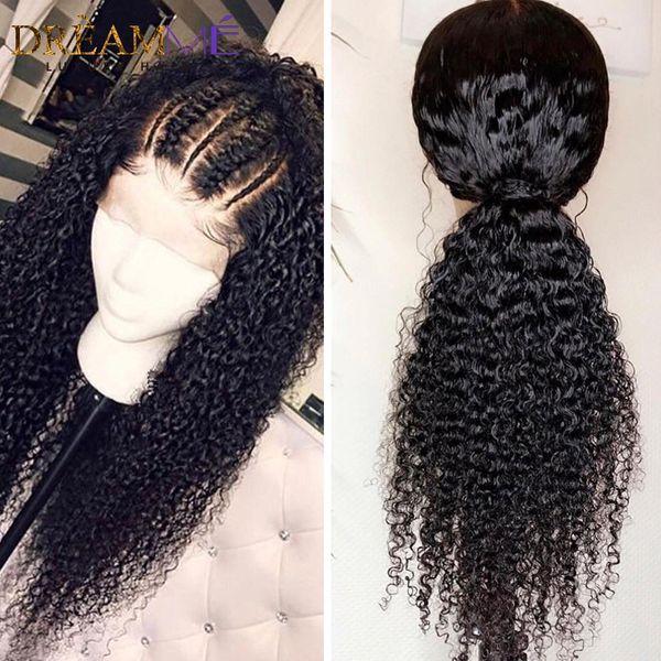 Kinky Curly 360 Lace Frontal Peruca Brasileira Para as mulheres negras solto encaracolado glueless peruca dianteira do laço sintético com cabelo do bebê blenched nós