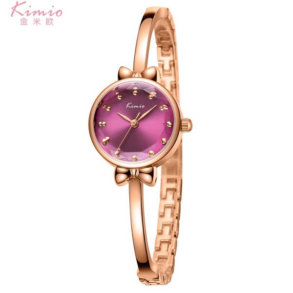 Kimio colorido diamante relógio de quartzo liga de ouro rosa pulseira de relógio mulheres dress mulher relógios de marca de luxo das mulheres relógios k6269