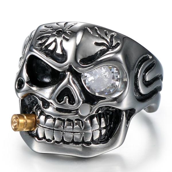 Bnwige 2019 New Stainless Steel Titanium Zircon Gold Pipe Punk Skull Rock Biker Clear Eye Plating Men's Rings Jewelry