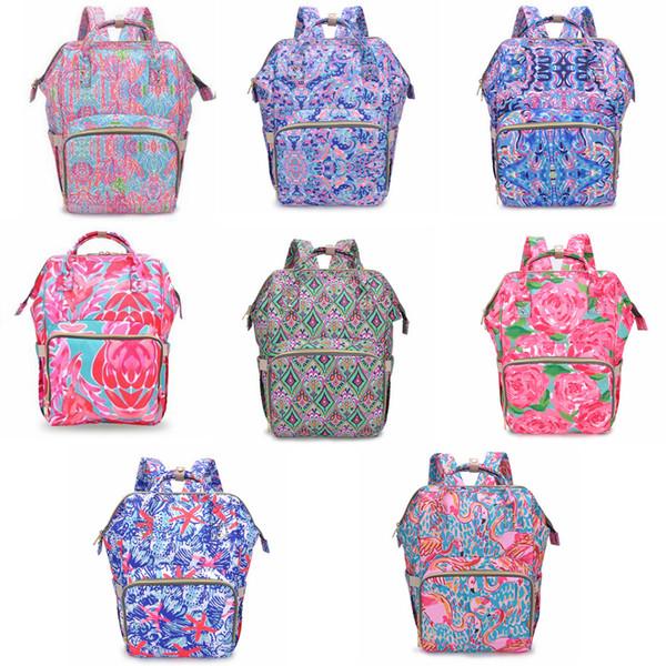 7styles Lily Mommy Mochilas floral impresso Mãe Fraldas Sacos de Moda Mãe Mochila Fralda Maternidade Grande saco de Enfermagem Ao Ar Livre FFA1897