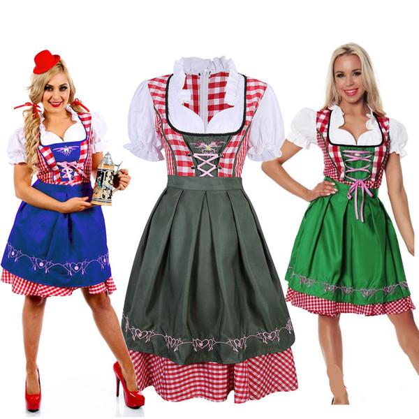 Femmes Allemagne Oktoberfest Costumes De Fête Des Fêtes Bière Fille Uniforme Bavarois Dirndl Wench Sexy Maid Costumes À Carreaux Robe