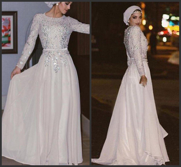 2019 New Muslim Evening Dresses Silver Sequins Crystal Beaded Chiffon Floor Length Shinning Arabic Abaya White Prom Dresses With Sash