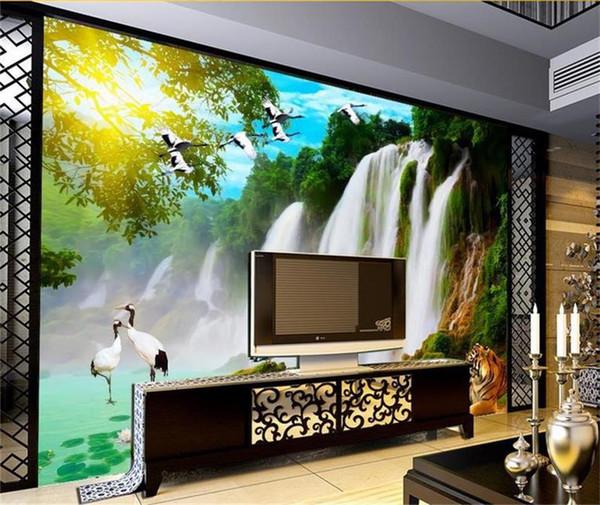 Özel boyut 3d fotoğraf duvar kağıdı oturma odası yatak odası duvar Şelale Kaplan Kuş Manzarası resim kanepe TV zemin duvar kağıdı dokun ...
