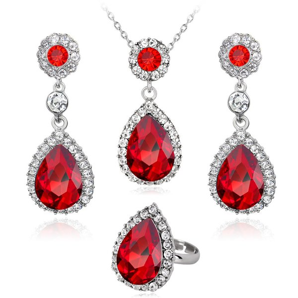 Classic water drop CZ Stone ring Necklace and Earrings Jewelry Sets for Women crystal Luxury Lady Wedding Party Jewelry Set
