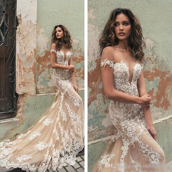 2019 Berta Wedding Dresses Tulle Applique Court Train Illusion Off Shoulder Cap Sleeves Lace Mermaid Wedding Bridal Gowns