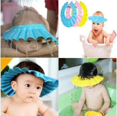 Baby Shower Caps Shampoo Cap Wash Hair Kids Bath Visor Hats Adjustable Shield Waterproof Ear Protection Eye Children Hats Infant