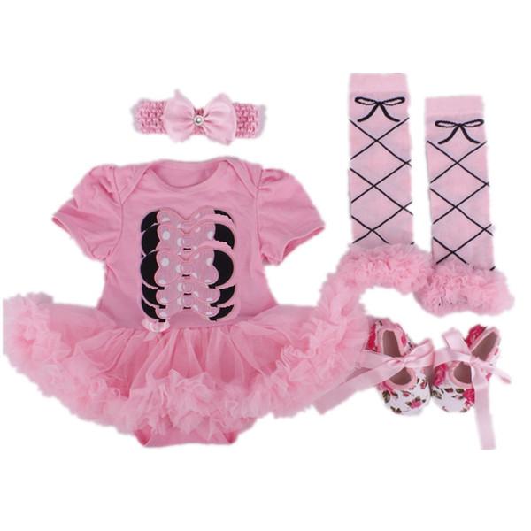 Cartoon Baby Girl Clothing Set Newborn Lace Bodysuit Leggings Shoe Hairband 4Pcs Suit Pink Children Tutu Dress Jumpsuits Outfits