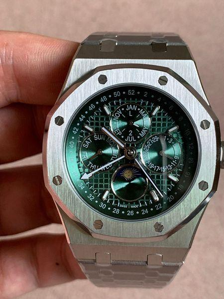 Orologio automatico di lusso verde automatico della macchina di vetro dello zaffiro di 41mm di affari mens di lusso dell'orologio