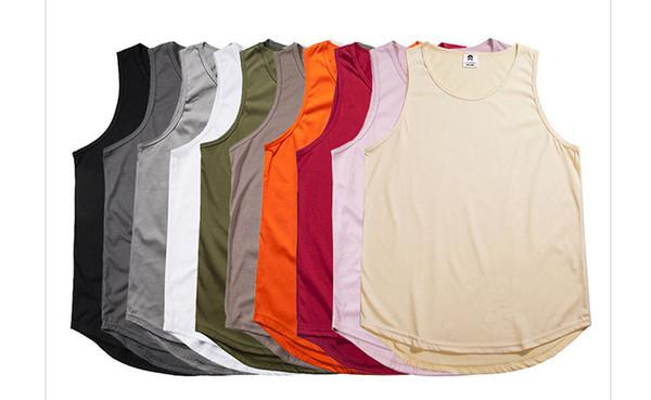Genişletilmiş Yaz T Gömlek Longline Hip Hop Tişörtlerin Kanye West Kolsuz erkek T-Shirt Siyah Beyaz